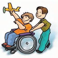 es un dibujo de dos niños jugando, uno empuja a otro en su silla ...